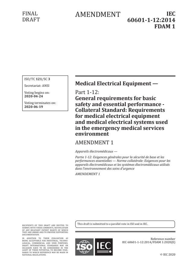 IEC 60601-1-12:2014/Amd 1:2020