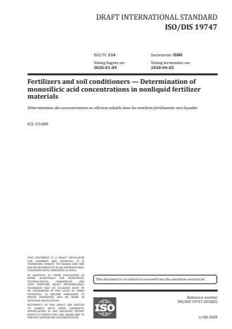 ISO/FDIS 19747:Version 25-apr-2020 - Fertilizers and soil conditioners -- Determination of monosilicic acid concentrations in nonliquid fertilizer materials
