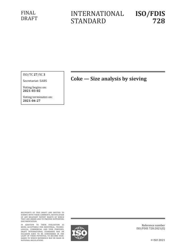 ISO/FDIS 728:Version 06-mar-2021 - Coke -- Size analysis by sieving