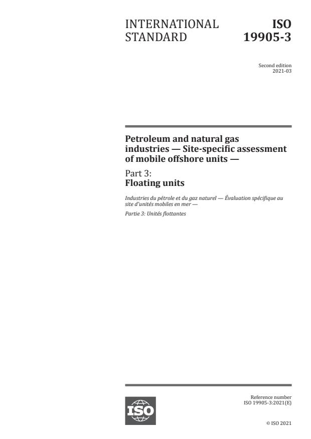 ISO 19905-3:2021 - Petroleum and natural gas industries -- Site-specific assessment of mobile offshore units