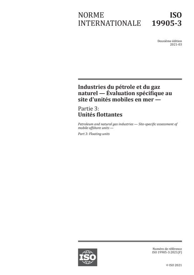 ISO 19905-3:2021 - Industries du pétrole et du gaz naturel -- Évaluation spécifique au site d'unités mobiles en mer