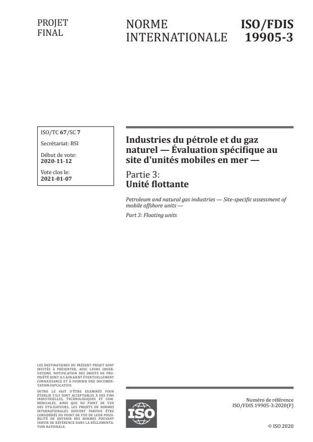 ISO/FDIS 19905-3:Version 26-dec-2020 - Industries du pétrole et du gaz naturel -- Évaluation spécifique au site d'unités mobiles en mer
