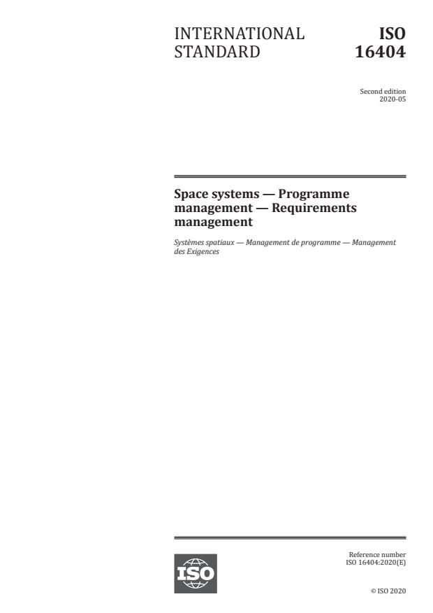 ISO 16404:2020 - Space systems -- Programme management -- Requirements management