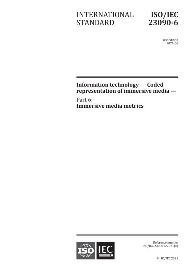ISO/IEC 23090-6:2021 - Information technology -- Coded representation of immersive media