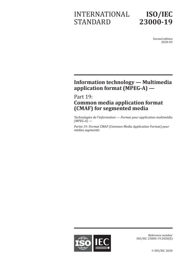 ISO/IEC 23000-19:2020 - Information technology -- Multimedia application format (MPEG-A)