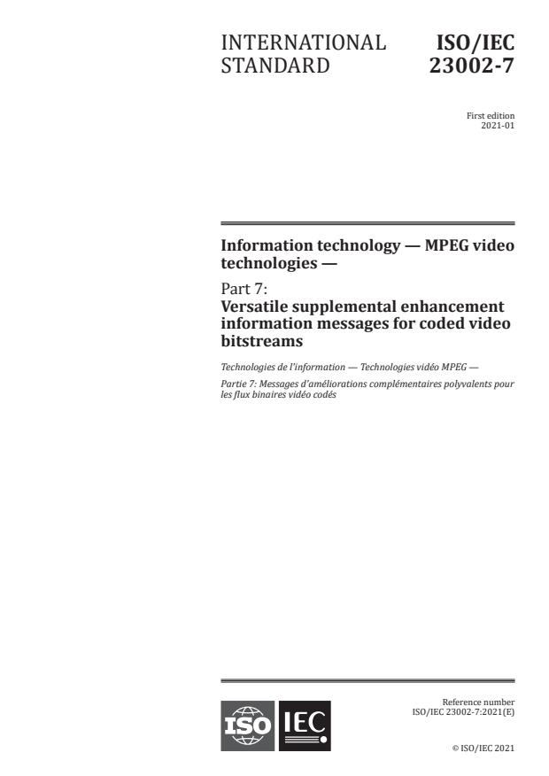 ISO/IEC 23002-7:2021 - Information technology -- MPEG video technologies