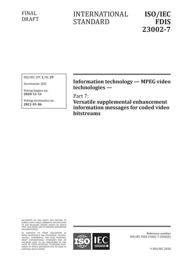 ISO/IEC FDIS 23002-7:Version 07-nov-2020 - Information technology -- MPEG video technologies