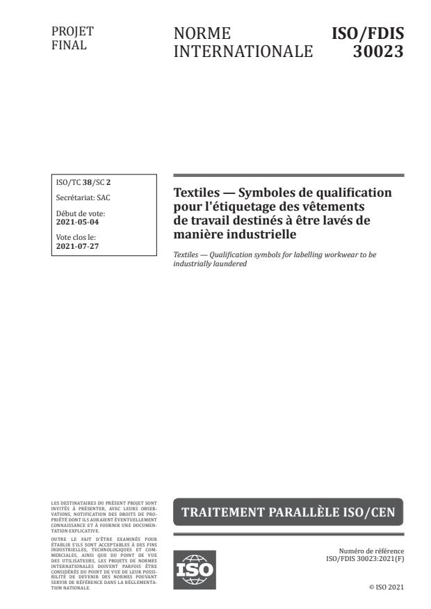 ISO/FDIS 30023:Version 05-jun-2021 - Textiles -- Symboles de qualification pour l'étiquetage des vetements de travail destinés a etre lavés de maniere industrielle