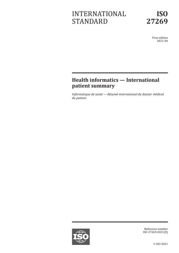 ISO 27269:2021 - Health informatics -- International patient summary