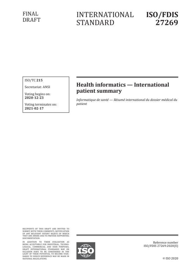 ISO/FDIS 27269:Version 19-dec-2020 - Health informatics -- International patient summary