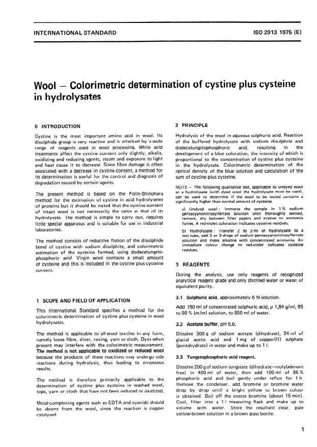 ISO 2913:1975 - Wool -- Colorimetric determination of cystine plus cysteine in hydrolysates