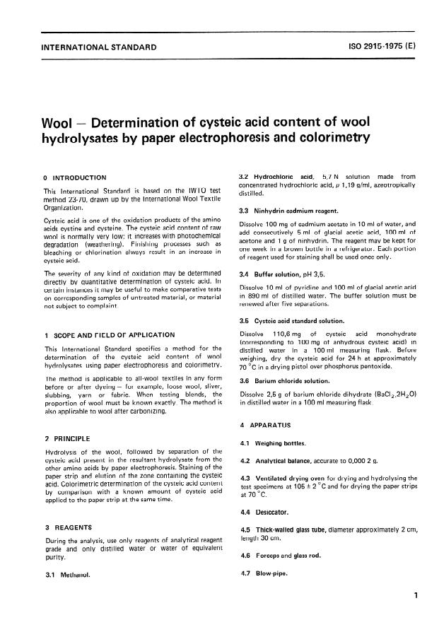 ISO 2915:1975 - Wool -- Determination of cysteic acid content of wool hydrolysates by paper electrophoresis and colorimetry