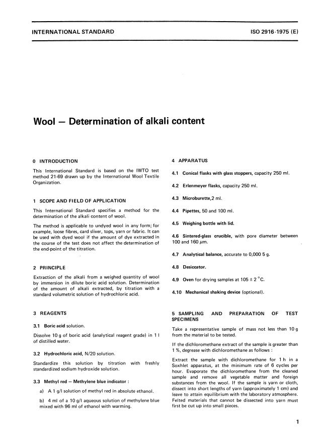 ISO 2916:1975 - Wool -- Determination of alkali content