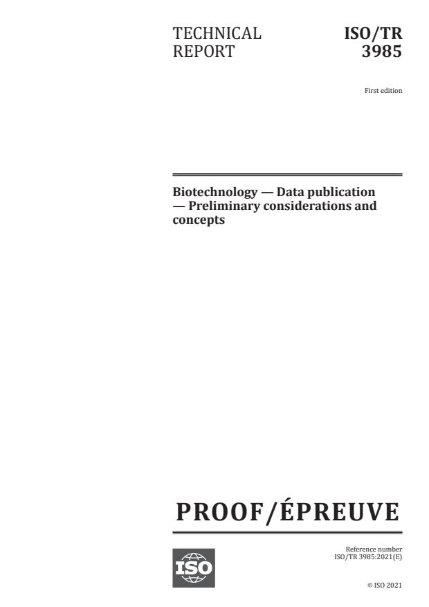 ISO/PRF TR 3985:Version 27-mar-2021 - Biotechnology -- Data publication -- Preliminary considerations and concepts