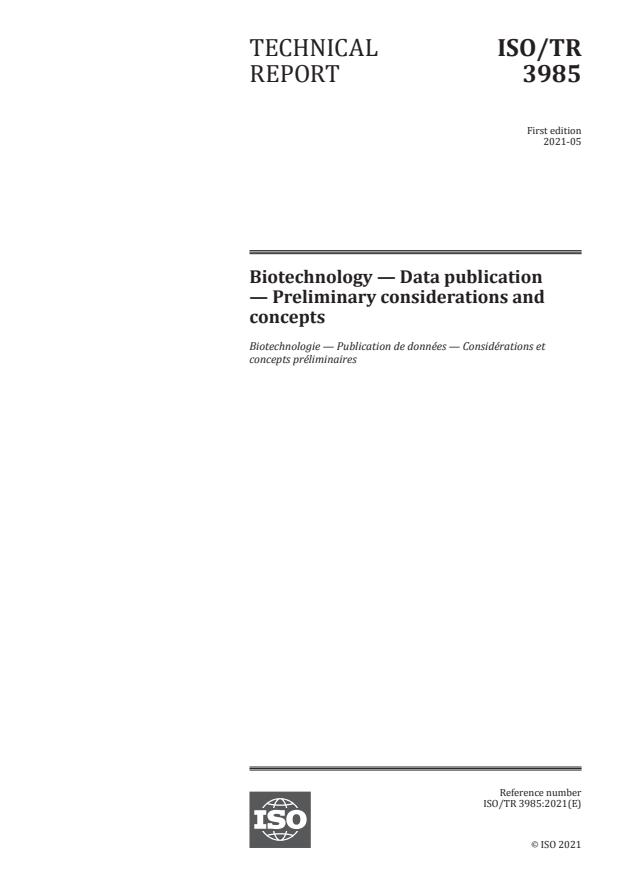 ISO/TR 3985:2021 - Biotechnology -- Data publication -- Preliminary considerations and concepts