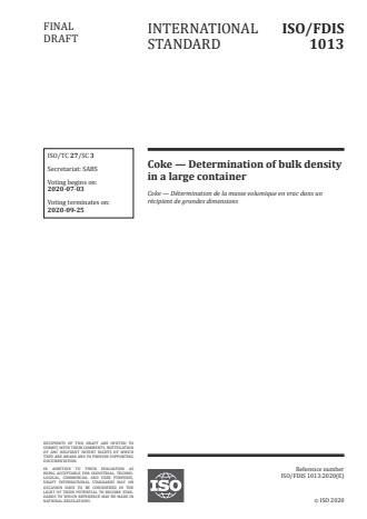 ISO/FDIS 1013:Version 22-jun-2020 - Coke -- Determination of bulk density in a large container