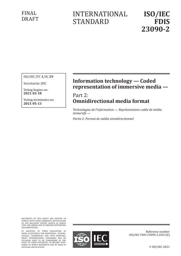 ISO/IEC FDIS 23090-2:Version 13-mar-2021 - Information technology -- Coded representation of immersive media