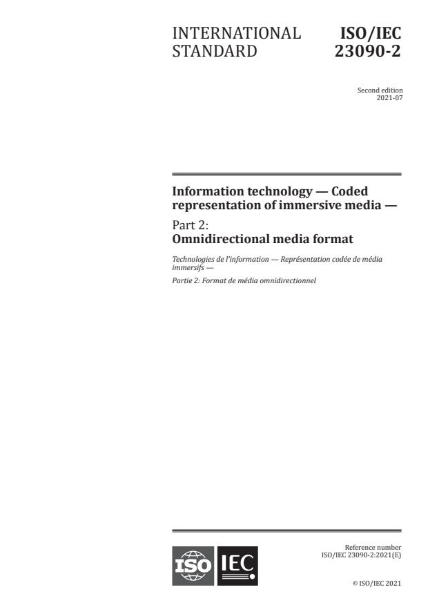 ISO/IEC 23090-2:2021 - Information technology -- Coded representation of immersive media