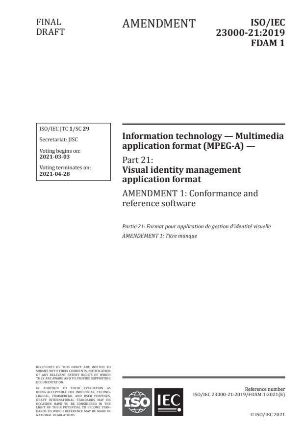 ISO/IEC 23000-21:2019/FDAmd 1:Version 06-mar-2021 - Conformance and reference software