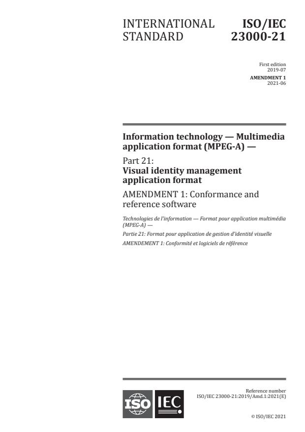 ISO/IEC 23000-21:2019/Amd 1:2021 - Conformance and reference software