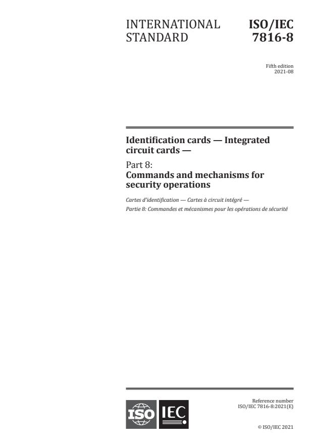 ISO/IEC 7816-8:2021 - Identification cards -- Integrated circuit cards