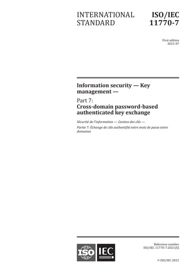 ISO/IEC 11770-7:2021 - Information security -- Key management