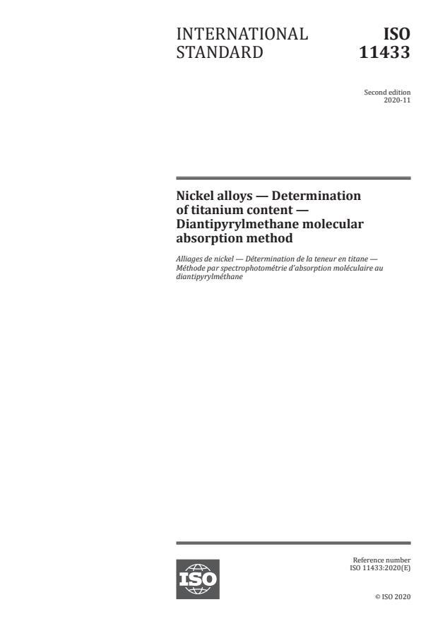 ISO 11433:2020 - Nickel alloys -- Determination of titanium content -- Diantipyrylmethane molecular absorption method
