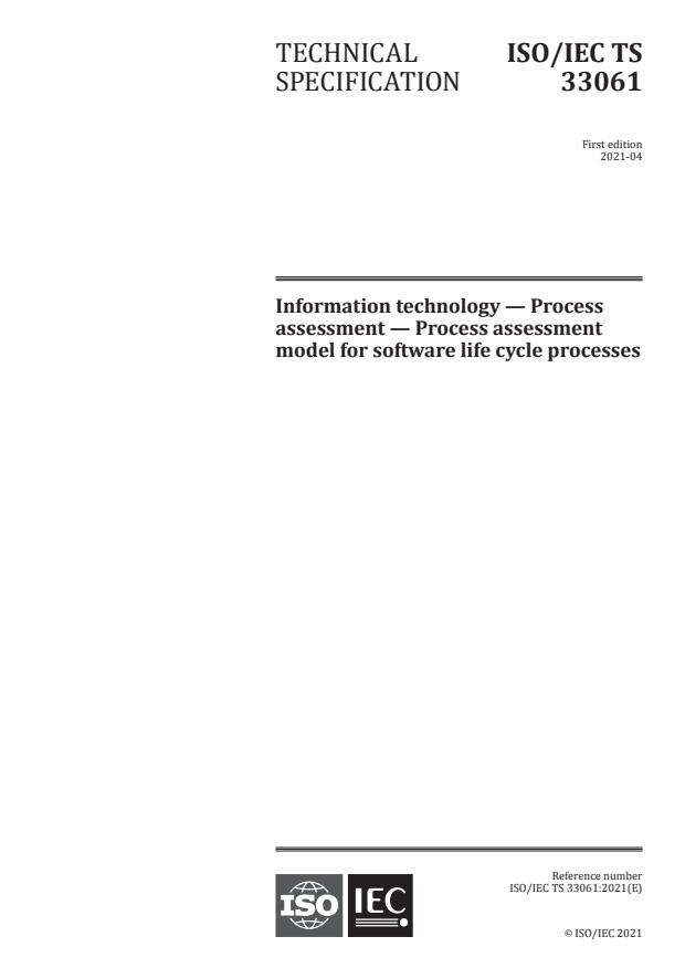 ISO/IEC TS 33061:2021 - Information technology -- Process assessment -- Process assessment model for software life cycle processes