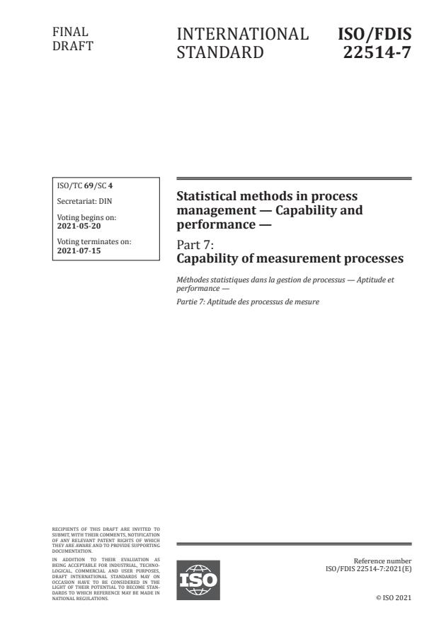 ISO/FDIS 22514-7:Version 15-maj-2021 - Statistical methods in process management -- Capability and performance