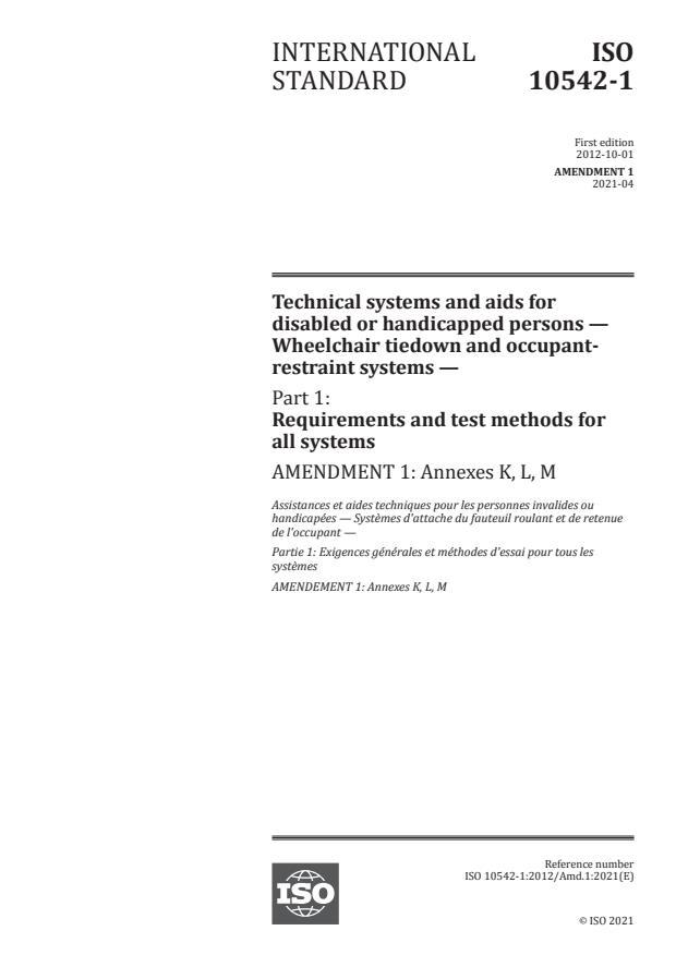 ISO 10542-1:2012/Amd 1:2021 - Annexes K, L, M