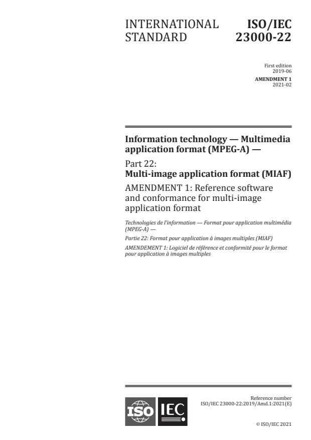 ISO/IEC 23000-22:2019/Amd 1:2021 - Reference software and conformance for multi-image application format