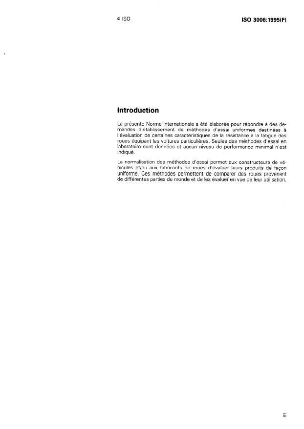 ISO 3006:1995 - Roues pour voitures particulieres -- Méthodes d'essai