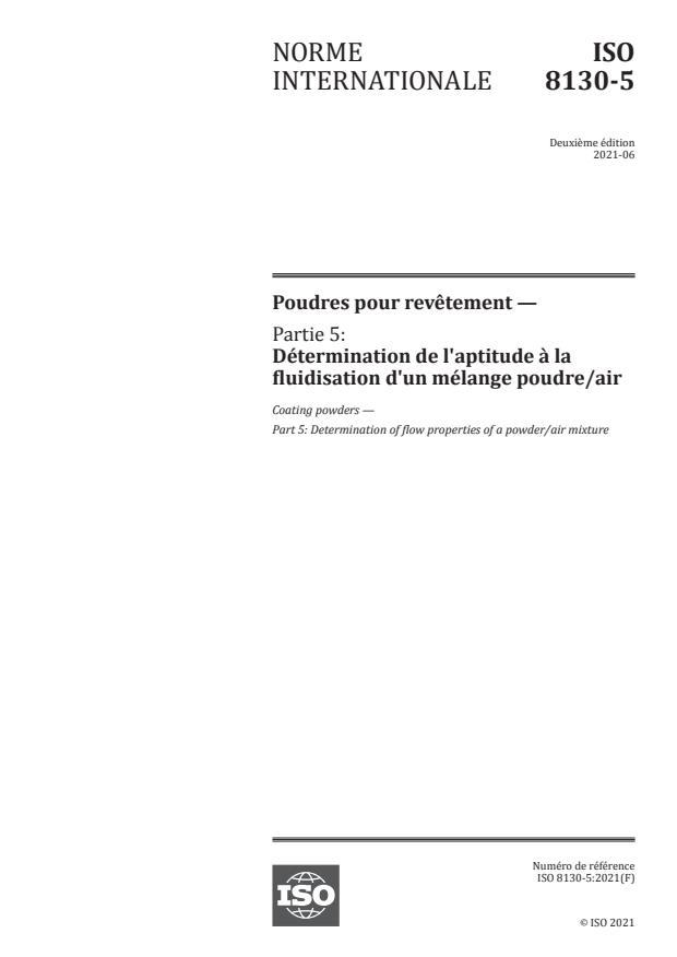 ISO 8130-5:2021 - Poudres pour revêtement