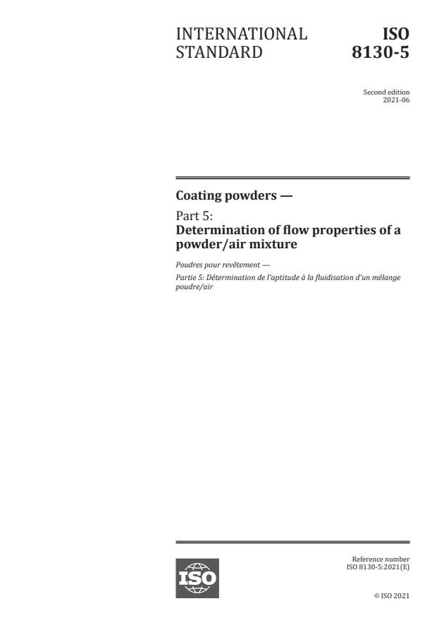 ISO 8130-5:2021 - Coating powders