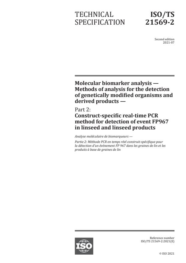 ISO/TS 21569-2:2021 - Molecular biomarker analysis -- Methods of analysis for the detection of genetically modified organisms and derived products