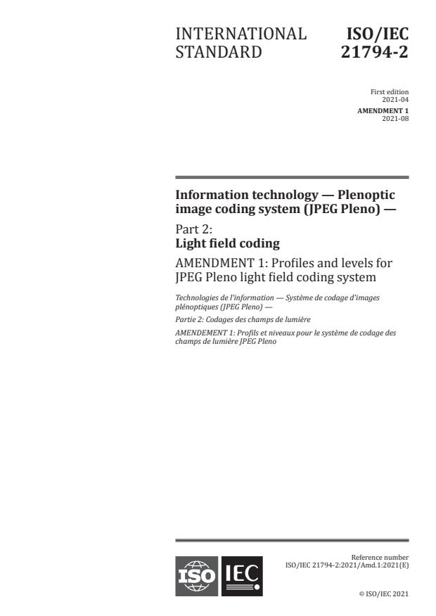 ISO/IEC 21794-2:2021/Amd 1:2021 - Profiles and levels for JPEG Pleno light field coding system