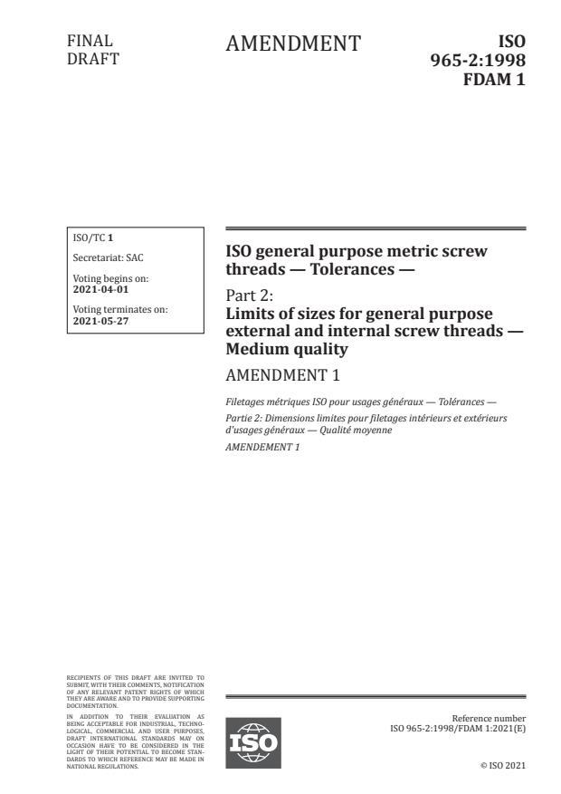 ISO 965-2:1998/FDAmd 1:Version 27-mar-2021