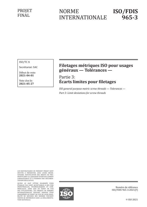 ISO/FDIS 965-3:Version 18-apr-2021 - Filetages métriques ISO pour usages généraux -- Tolérances