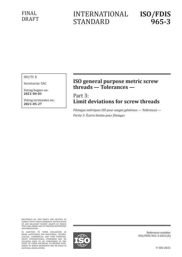 ISO/FDIS 965-3:Version 27-mar-2021 - ISO general purpose metric screw threads -- Tolerances