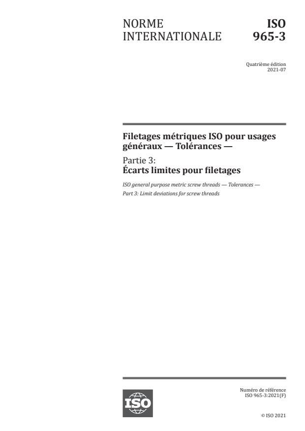 ISO 965-3:2021 - Filetages métriques ISO pour usages généraux -- Tolérances