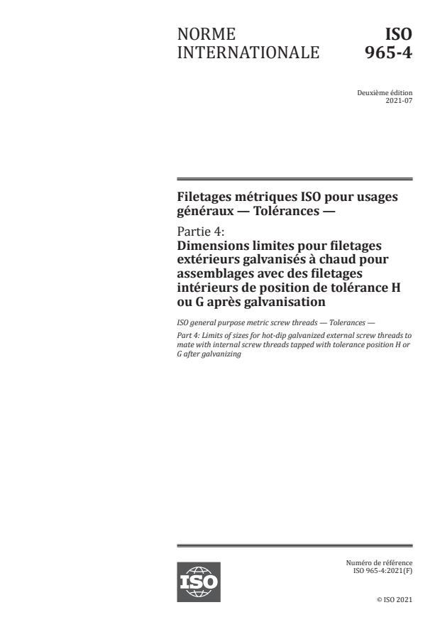 ISO 965-4:2021 - Filetages métriques ISO pour usages généraux -- Tolérances