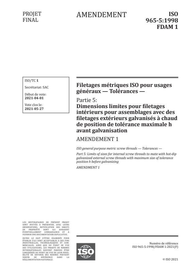 ISO 965-5:1998/FDAmd 1:Version 18-apr-2021