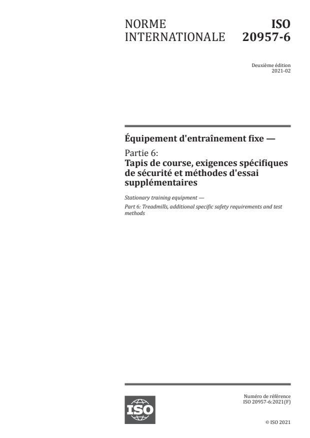 ISO 20957-6:2021 - Équipement d'entraînement fixe