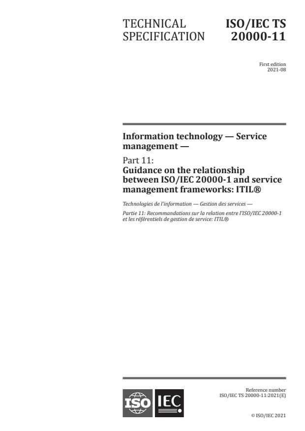 ISO/IEC TS 20000-11:2021 - Information technology -- Service management