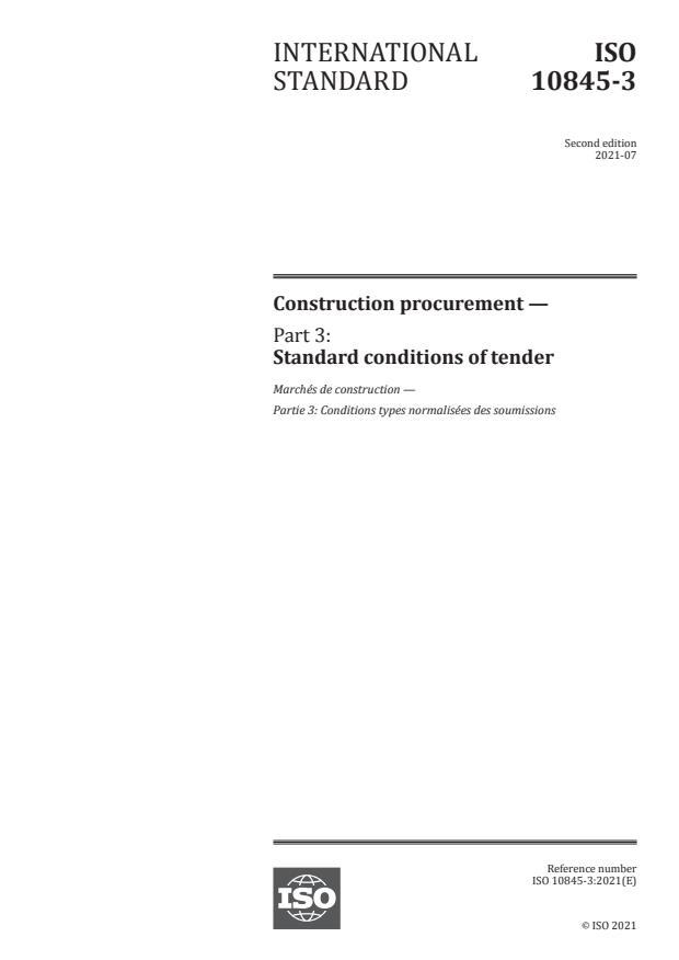 ISO 10845-3:2021 - Construction procurement