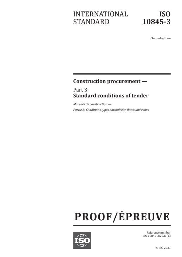 ISO/PRF 10845-3:Version 29-maj-2021 - Construction procurement
