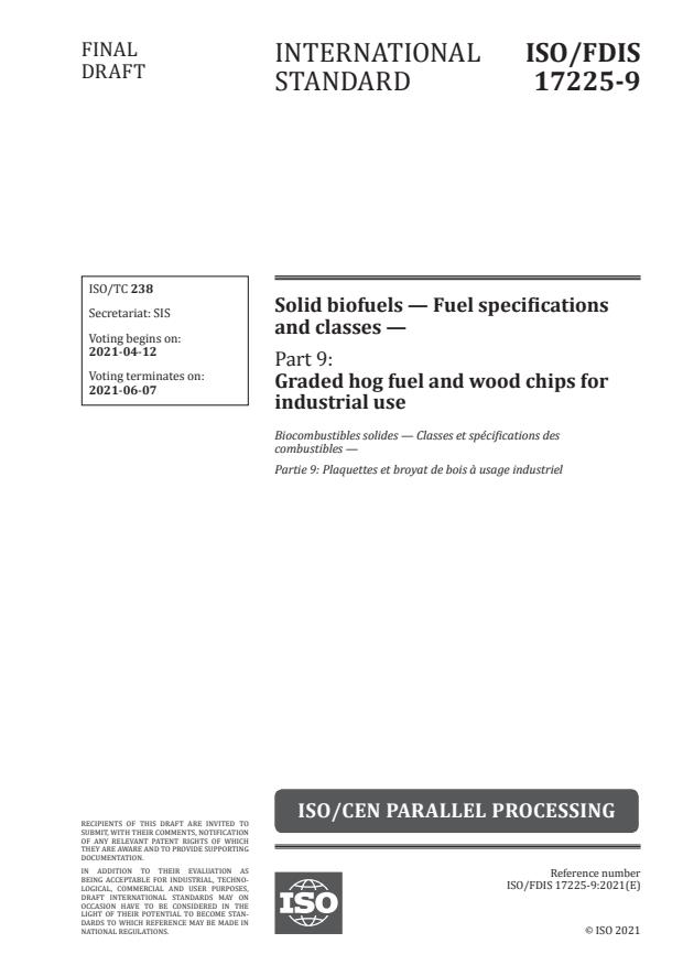 ISO/FDIS 17225-9:Version 10-apr-2021 - Solid biofuels -- Fuel specifications and classes