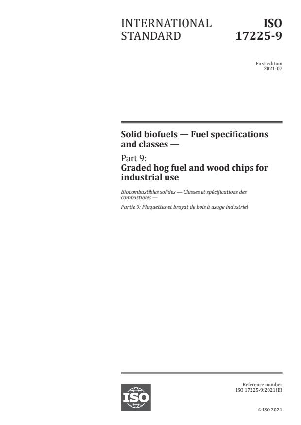 ISO 17225-9:2021 - Solid biofuels -- Fuel specifications and classes