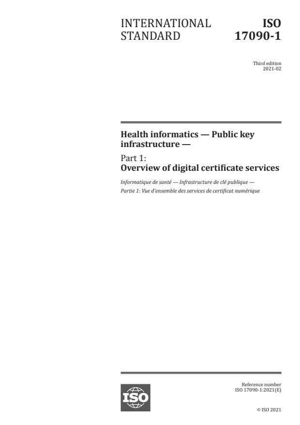 ISO 17090-1:2021 - Health informatics -- Public key infrastructure