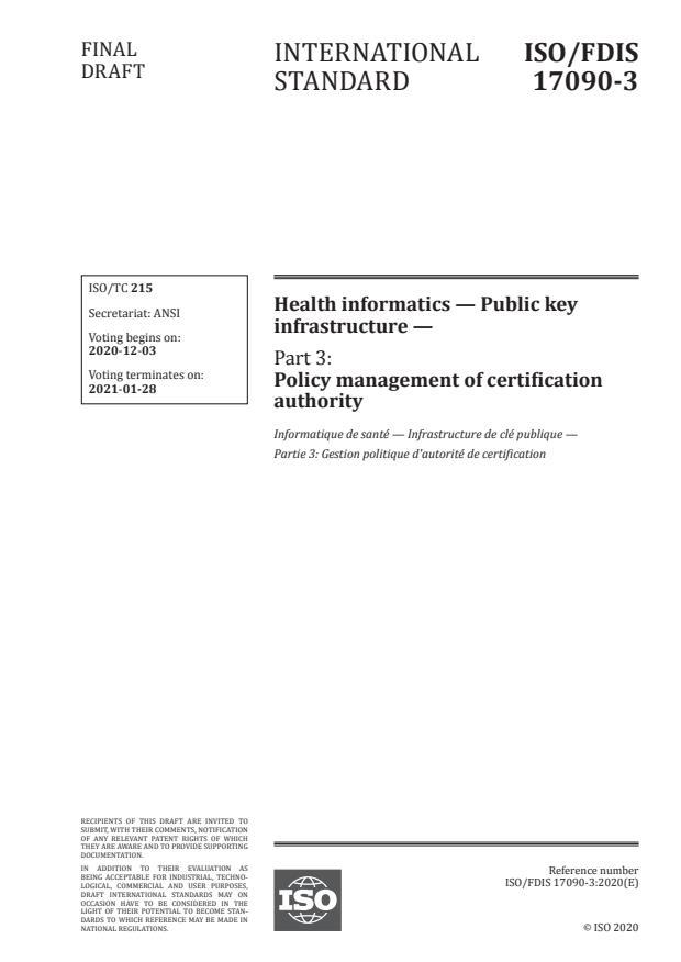ISO/FDIS 17090-3:Version 28-nov-2020 - Health informatics -- Public key infrastructure